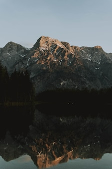 Lac entouré de montagnes avec des arbres se reflétant sur l'eau pendant la journée