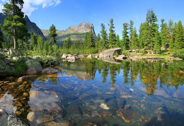 Lac de la forêt sauvage dans les montagnes sayan dans le parc naturel d'ergaki