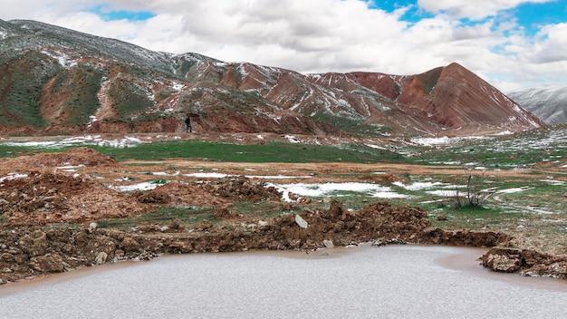Lac gelé dans les hautes terres