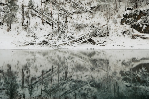 Lac avec glace reflétant la neige recouvrant les montagnes