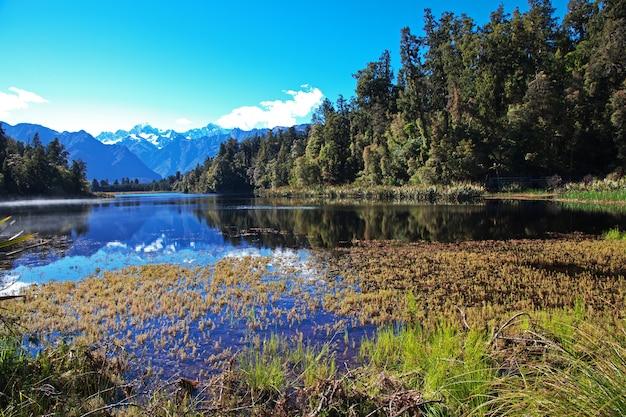 Lac miroir, sur, île sud, nouvelle zélande