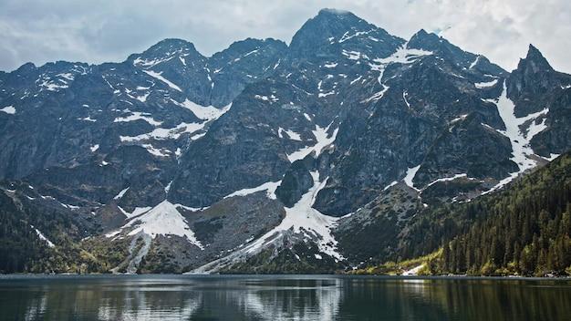 Lac de montagne aux eaux bleues froides, forêt alpine et roche enneigée