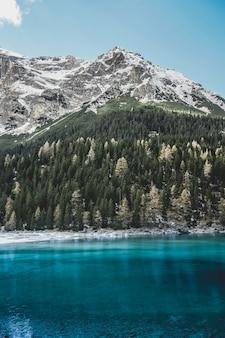 Le lac de montagne magique d'obernberg en fleurs.