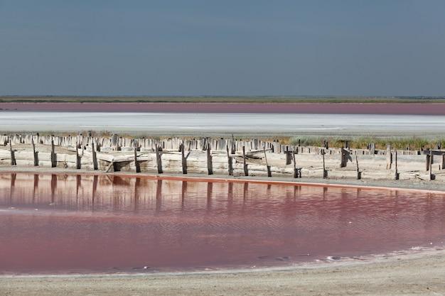 Lac salé rose avec boue curative, algues et micro-organismes uniques.