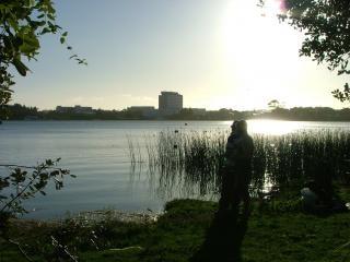 Lac silhouette de pêche