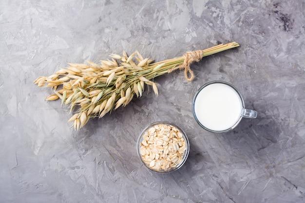 Lait d'avoine dans une tasse, flocons d'avoine et oreilles sur fond gris. alternative au lait de vache. alimentation saine. vue de dessus