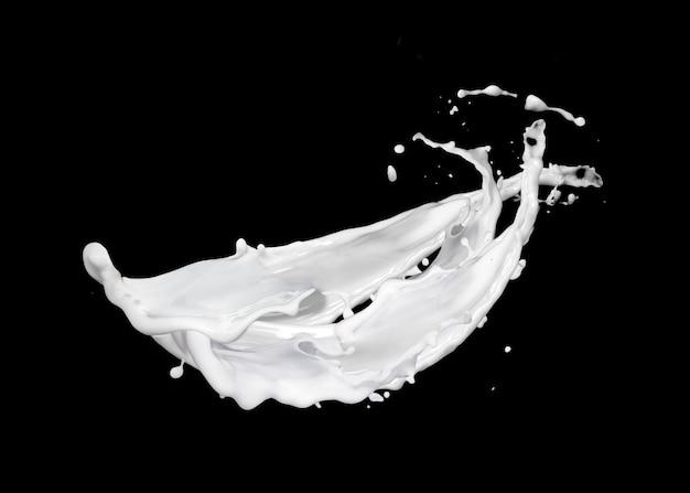 Lait frais flottant ou yaourt éclaboussant de gouttes contre le mur noir