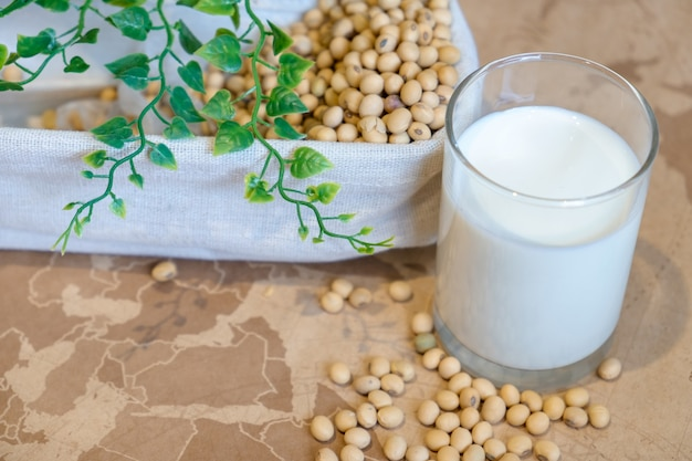 Le lait de soja dans le verre et la fève de soja sur le seau. concept santé nature.