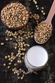 Lait de soja et soja. lait végétalien