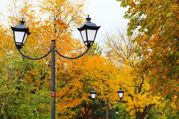 Lampadaire dans le parc d'automne