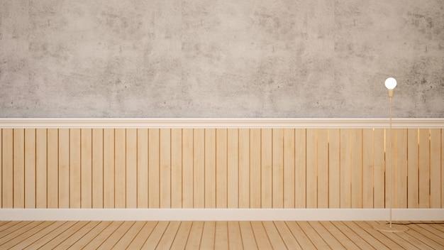 Lampadaire dans la pièce vide pour les oeuvres d'art - rendu 3d