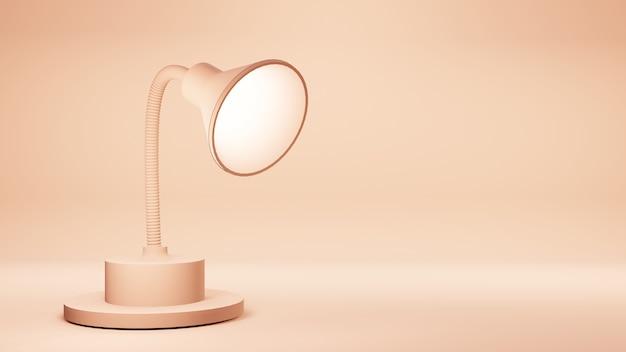 Lampe 3d isolée sur fond d'or rose