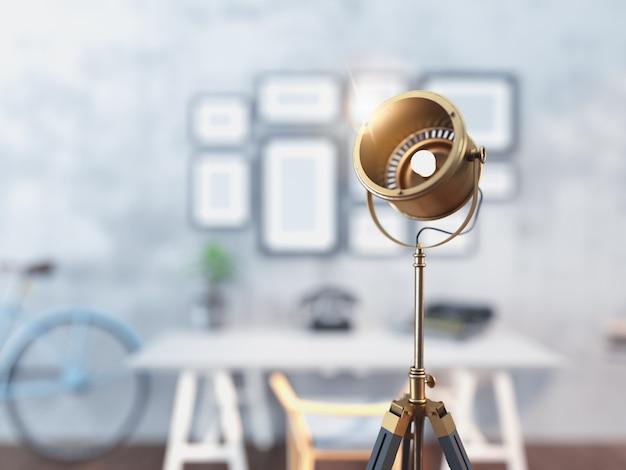 Lampe classique dans le salon rendu 3d