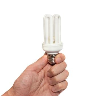 Lampe économique dans une main isolée sur blanc