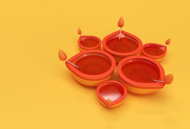 Lampe à huile - diya, festival de diwali, illustration de rendu 3d.