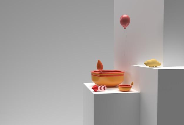 Lampe à huile de rendu 3d - scène diya de scène de podium minimale pour les produits d'affichage conception publicitaire de diwali festiva.