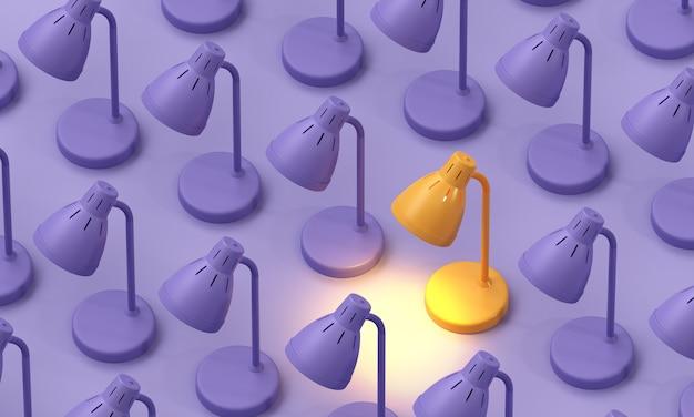 La lampe jaune allume la lumière exceptionnelle parmi la lampe violette