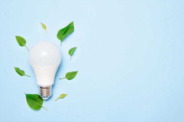 Lampe led avec des feuilles sur un fond bleu
