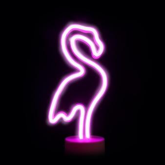 Lampe à led flamingo rose néon isolée sur fond noir.