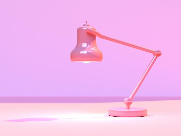 Lampe lumière minimal abstrait rose scène rendu 3d