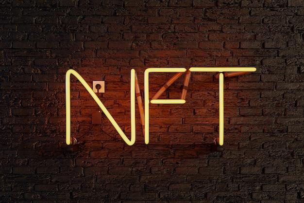 Lampe néon jaune avec signe nft lumineux