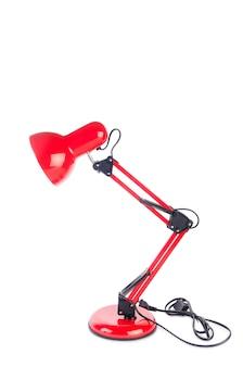 Lampe réglable de table rouge isolé sur blanc