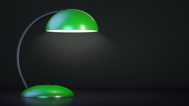 La lampe de table verte est allumée.
