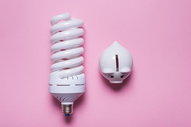 Lampes à économie d'énergie et tirelire sur fond coloré