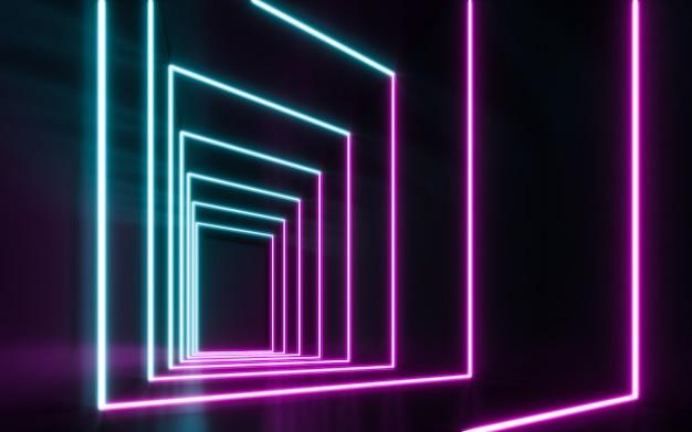 Lampes néon bleues et violettes futuristes sci fi rougeoyantes. rendu 3d