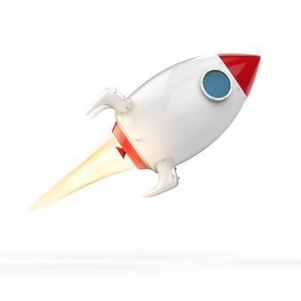 Lancement de la navette spatiale de rendu 3d avec de la fumée
