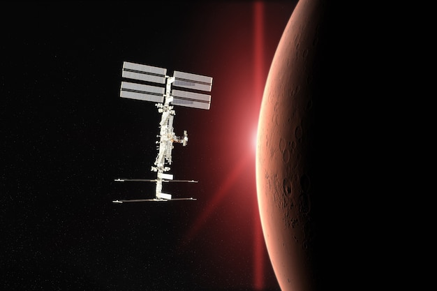 Lancement de vaisseau spatial dans l'espace