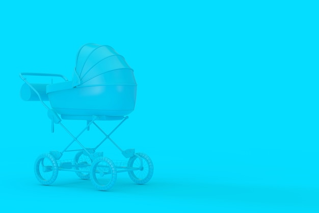 Landau bleu moderne, poussette, landau maquette en style bichromie sur fond bleu. rendu 3d