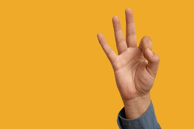 Langue des signes avec espace de copie