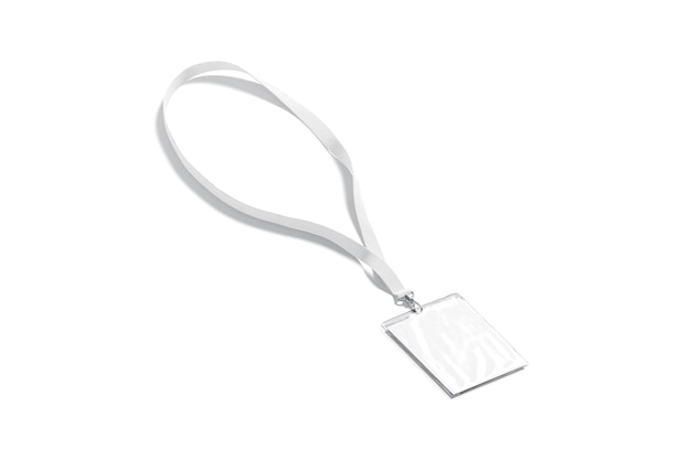 Lanière blanche vierge avec carte de visite maquette dentelle vide avec badge laminé pour maquette d'événement