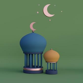 Lanterne arabe croissant de lune ramadan kareem mawlid iftar isra miraj rendu 3d