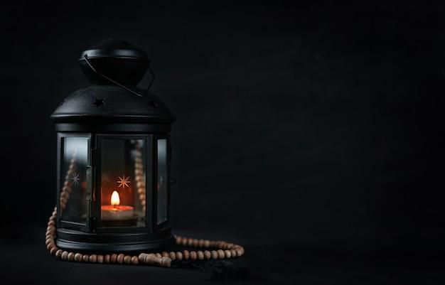 Lanterne de bougie ramadan avec salle de perles en bois de prière pour le texte