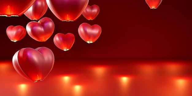 Lanterne de ciel en papier en forme de coeur rouge sur fond rouge isolé.