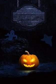 Lanterne citrouille et fantôme avec panneau en bois
