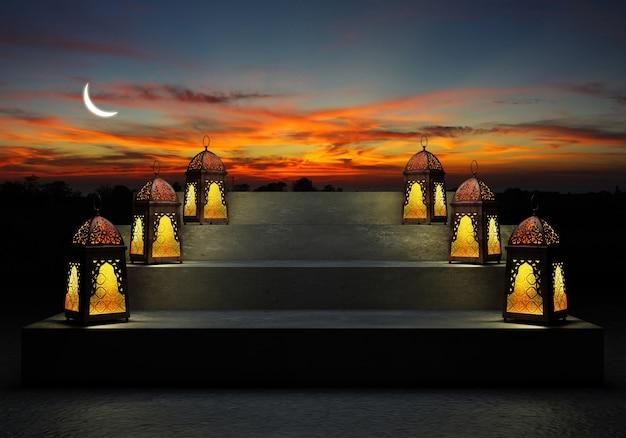 Lanterne colorée illuminée du ramadan, contre le ciel bleu nocturne avec un croissant de lune.