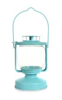Lanterne en métal bleu isolated on white