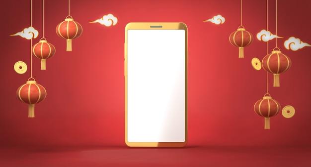 Lanternes chinoises de rendu 3d sur fond rouge