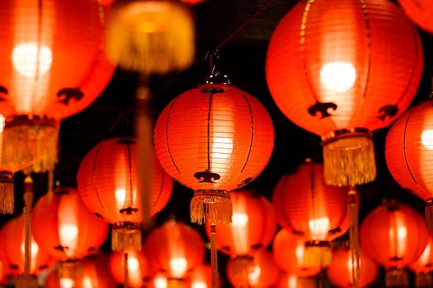 Lanternes Rouges Dans Le Nouveau Festival Chinois Photo Premium