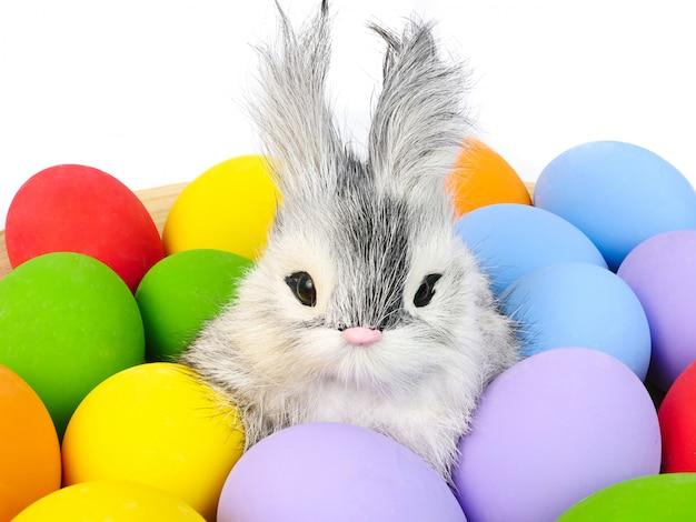 Un lapin et des assortiments d'oeufs de pâques peints