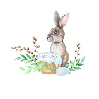 Lapin avec des fleurs et des plantes aquarelle dessin sur fond blanc.
