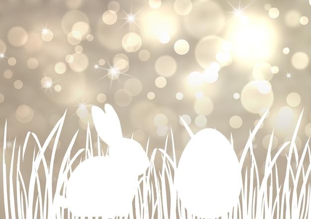 Lapin de pâques lapin chasse aux oeufs fond argenté avec effet bokeh. gris argenté et blanc joyeuses pâques modèle design illustration dessinée à la main. carte de voeux avec l'herbe d'oeuf de lapin de lapin