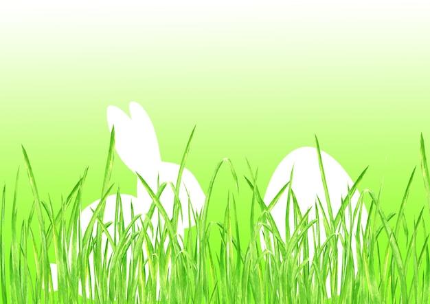 Lapin de pâques lapin chasse aux oeufs fond dégradé vert citron. joyeuses pâques modèle design illustration dessinée à la main. carte de voeux avec l'herbe verte d'oeuf de lapin de lapin et l'espace pour le texte