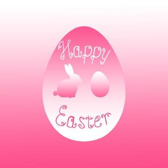 Lapin de pâques lapin chasse aux oeufs fond rose. rose et blanc joyeuses pâques modèle design illustration dessinée à la main. carte de voeux avec oeuf de lapin et texte