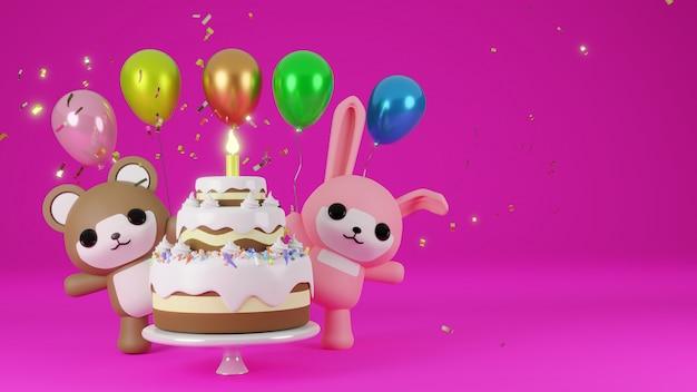 Lapin rose et ours brun célèbrent avec un gâteau et des ballons colorés