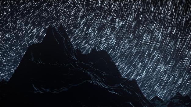 Un laps de temps d'une nuit étoilée avec une ombre de montagnes