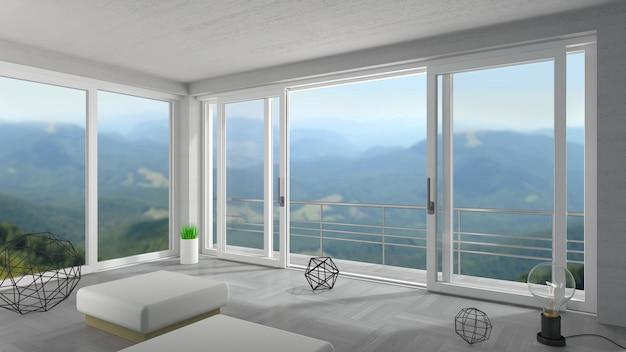 Large porte coulissante blanche dans un chalet de montagne